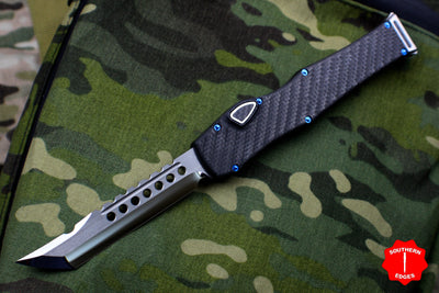 Marfione Custom Halo VI Hellhound Mirror Blade, CF Top, CF Button, CF Charging Handle Blue Hardware 351-MCK HH CFHPBL