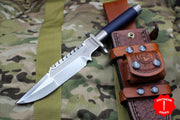 Marfione Custom Interceptor Fixed Hand Rubbed Satin Navy Blue Cord with Leather Sheath
