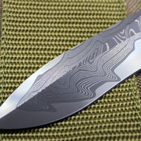 Marfione Custom Combat Troodon Recurve Damascus Blade and Copper-Ringed HW 342-MCK DACU