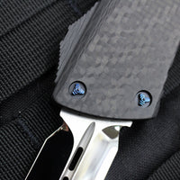 Marfione Custom Combat Troodon D/E Mirror Blade Carbon Fiber Top and Button  Blue-Ringed HW 342-MCK DE CFHPBR