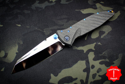 Marfione Custom Warcom Socom Elite Warhound Carbon Fiber Mirror Polish Blade Flamed Backspacer Blue Titanium HW 508-MCK WAR CFHPBL