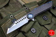 Marfione Custom Warhound Folder with Mirror Finish Carbon Fiber Blue Hardware SN 05 391-MCK HPBL CF