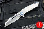 Marfione Custom Warhound Folder Two-Tone Stonewash Blade and Handle Blue Hardware 391-MCK TTSWBL