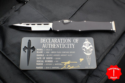 Marfione Knife Archive Serial Number 03! Custom Halo VI Single Edge Compound Ground Mirror Blade 351-MCK SEHP CMPD 03