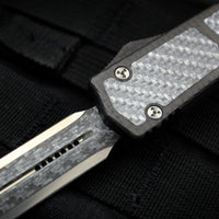 Marfione Knife Archive Serial Number 03!  Rare Custom Makora/Ultratech DE Silver Carbon Fiber Laminate Blade Carbon Fiber Top with Silver Carbon Fiber Inlay
