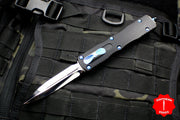 Marfione Custom Dirac Delta Double Edge OTF Knife Mirror Polished Blade Blue Ringed Hardware 504-MCK HPBR2