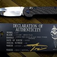 Marfione Custom L-UDT with Mirror Polished Blade Carbon Fiber Scales and Inlaid Button and Blue-Ringed HW 335-MCK HPCFCFBR
