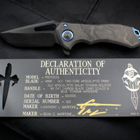 Marfione Custom Protocol Flipper Fat Carbon Black Camo/DLC Two-Tone Apocalyptic Titanium Handles Two-tone Apocalyptic Blade Blue Hardware Serial Number 02