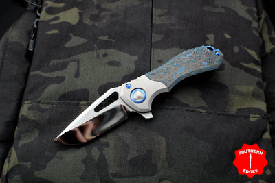 Marfione Custom Protocol Folder Flipper Artic Blue Fat Carbon Fiber/Vapor Blasted Ti Blue Hardware