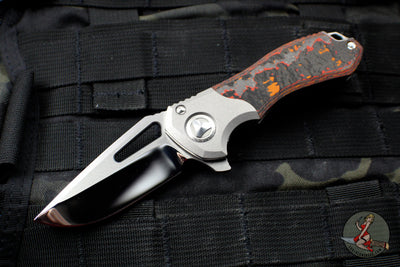 Marfione Custom Protocol Folder Flipper Mirror Blade Mars Valley Fat Carbon Fiber/Vapor Blasted Ti Satin Hardware