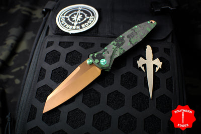 Marfione Custom Warcom Socom Elite Warcom Jungle Wear Fat Carbon Fiber Handle Copper PVD Two-Tone Apocalyptic Blade Cu Backspacer Green Titanium HW 508-MCK WAR FCJUNGLE CUPVD