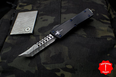 Marfione Custom Troodon Hellhound Tanto Polished Vegas Forge Damascus Black Hefted Handle Blue-Ringed HW 338-MCK HPDAMMYBL