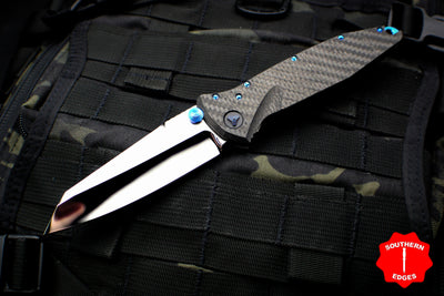 Marfione Custom Warcom Socom Elite Warhound Carbon Fiber Mirror Polish Blade Blue Ti Backspacer Blue Titanium HW 508-MCK WAR CFHPBL2