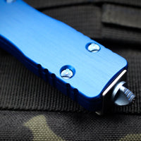 Marfione Custom Dirac Blue Double Edge Spike Grind OTF Knife Mirror Polish Blade Blue HW 504-MCK SP BLHPBL