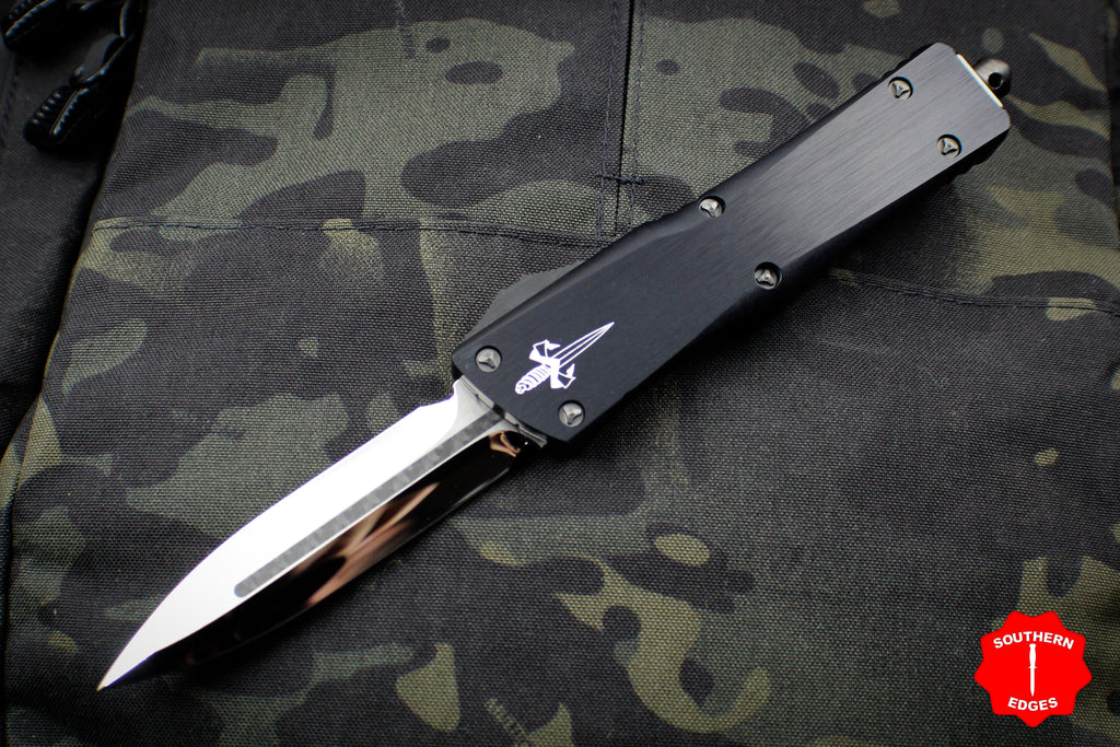 Marfione Custom Combat Troodon Double Edge Mirror Blade With Carbon Fiber Inlay and Button DLC Ringed HW 342-MCK DE HPCFI DLC