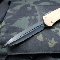 Marfione Custom TAN Smooth Body Cypher DE Stonewashed DLC Blade and Blacked-out Hardware
