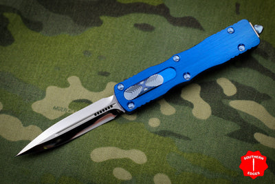 Marfione Custom Dirac Blue Double Edge OTF Knife Mirror Polish Blade Blue HW 504-MCK BLHPBL