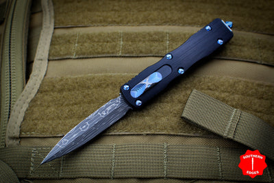 Marfione Custom Dirac Black Double Edge OTF Knife Vine & Roses Damascus Blade Blue HW 504-MCK VINEDABL