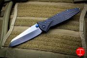 Marfione Custom Warcom Socom Elite Warhound Carbon Fiber Satin Blade Flamed Backspacer Blue Titanium HW 508-MCK WAR CFSWBL