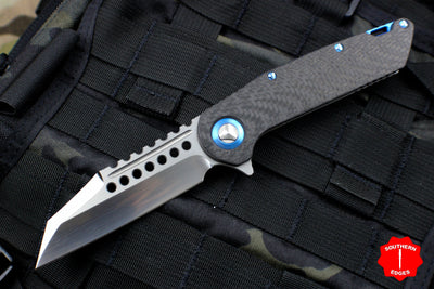 Marfione Custom Warhound Folder Hand Rubbed Satin Carbon Fiber Blue Titanium Hardware 391-MCK CFHRBL