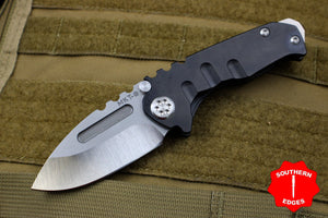 Medford Micro Praetorian T Folder Black PVD Titanium Handle With Satin Drop Point