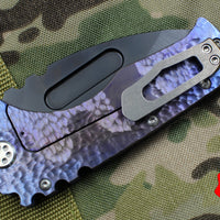 Medford Praetorian T Black Drop Point Folder Hammered Purple/Blue Ti