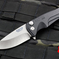 Medford Smooth Criminal Button Lock Flipper Folder Black Aluminum Chassis and Tumbled Blade