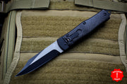 Microtech Cobra Knife, Auto Lever Lock, Bowie Blade Lightning Strike Carbon Fiber Tactical Standard