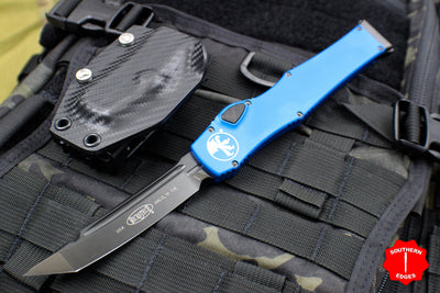 Microtech Halo VI Signature Series Tanto Edge Blue with Black DLC Blade and Hardware 250-1 DLCBLS