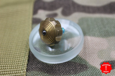 Marfione Custom Knives Mini Spin Top - Brass with Green Titanium Stem