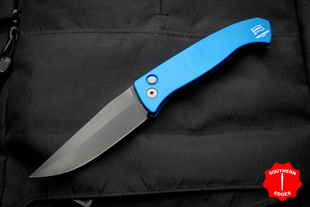 Protech Medium Brend Blue Body Black Blade Out The Side (OTS) Auto Knife 1321-Blue