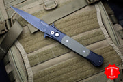 Protech Large Don Black Handle with OD Green G-10 Inlay Black DLC Blade 1939