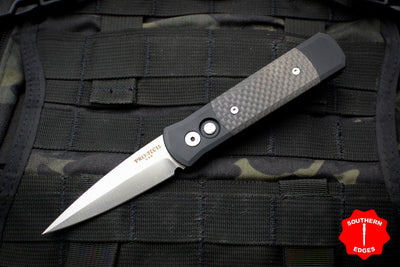 Protech Godson Out The Side Auto (OTS) Black Handle Carbon Fiber Inlays Satin Blade 704