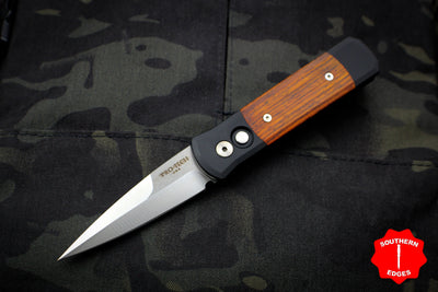 Protech Godson Out The Side Auto (OTS) Black Handle With Cocobolo Wood Inlay Satin Blade 706-C