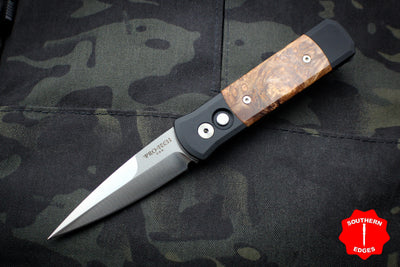Protech Godson Out The Side Auto (OTS) Black Handle With Maple Burl Wood Inlay Satin Blade 706