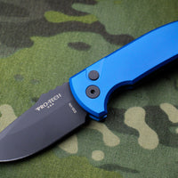 Protech Les George SBR Short Bladed Rockeye Out The Side (OTS) Smooth Blue Handle with Black Blade LG403-BLUE