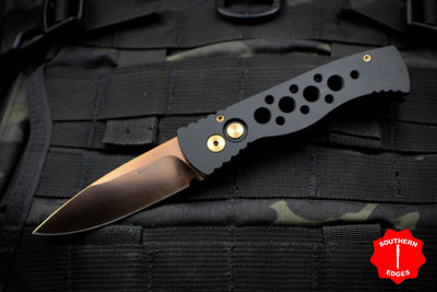 Protech TR-2 RG PT20 Tactical Response 2 Skeletonized Black Body Rose Gold Blade Out The Side (OTS) Auto Knife TR-2 PT20-RG