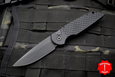 Protech TR-3 X1 Operator Tactical Response 3 Out The Side (OTS) Auto Knife Black Fish Scale Handle Black Plain Edge TR-3 X1 Operator