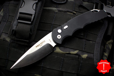 Protech TR-4 Tactical Response 4 OTS Auto Black Handle D2 Satin Plain Edge Knife TR-4.D2 LTD