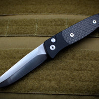 Protech Small Brend 2 Black Body Carbon Fiber Inlays Satin Blade Out The Side (OTS) Auto Knife 1204