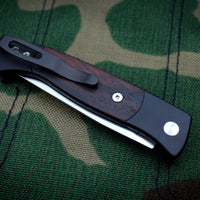 Protech Small Brend 2 Black Handle With Cocobolo Inlay Satin Blade Out The Side (OTS) Auto Knife 1206-C
