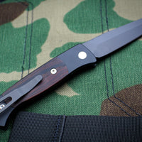 Protech Small Brend 2 Black Handle With Cocobolo Inlay Black Blade Out The Side (OTS) Auto Knife 1207-C