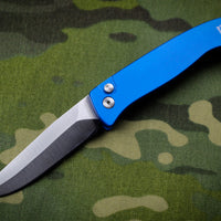 Protech Small Brend Blue Body Satin Blade Out The Side (OTS) Auto Knife 1221-SATIN-BLUE