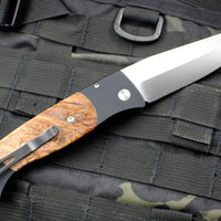 Protech Medium Brend Black Body Maple Burl Inlay Satin Blade Out The Side (OTS) Auto Knife 1306