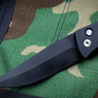 Protech Medium Brend Black Body Amber Jigged Bone Inlay Black Blade Out The Side (OTS) Auto Knife 1362