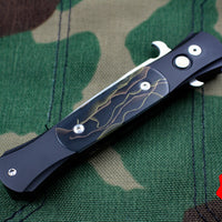 Protech Don Out The Side Black Handle Raffir Noble Inlay Satin Blade