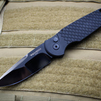 Protech TR-3 2019 DLC Tactical Response 3 Out The Side (OTS) Auto Knife Black Fish Scale with POLISHED & DLC Hand Ground Blade