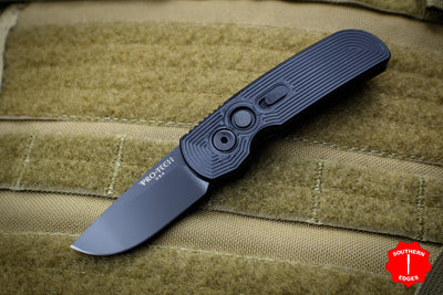 Protech Calmigo Black Body With Tron Pattern Black Single Edge Blade Out The Side (OTS) Auto Knife 2205-TRON