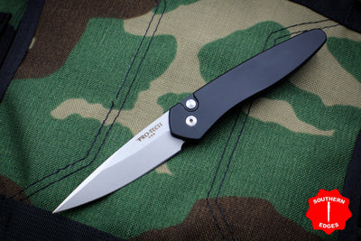 Protech Newport Out The Side OTS Auto Black Handle with Stonewash Blade 3405