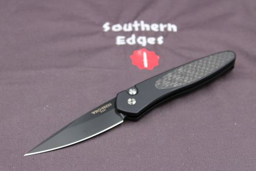 Protech Newport Black Body Carbon Fiber Inlay Black Blade 3416